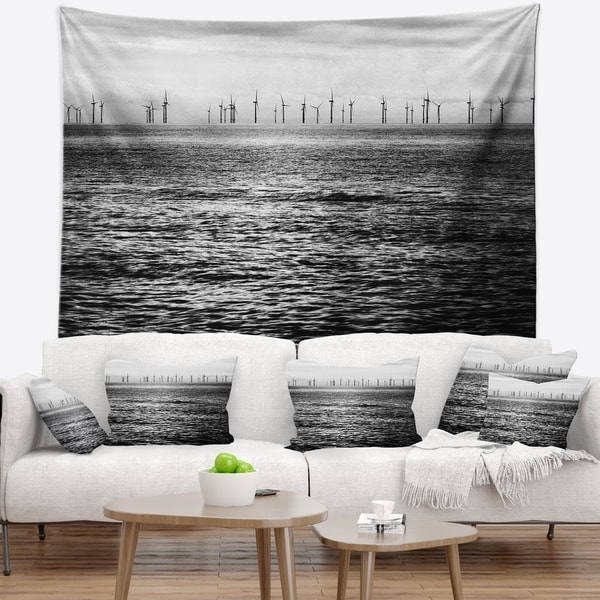 Designart 'Wind Turbines Black and White' Landscape Wall Tapestry