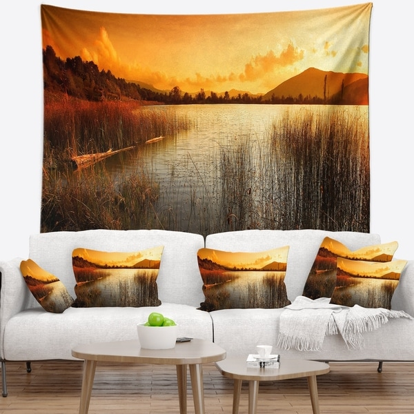 Designart 'Calm Evening with Lake and Mountains' Landscape Wall Tapestry