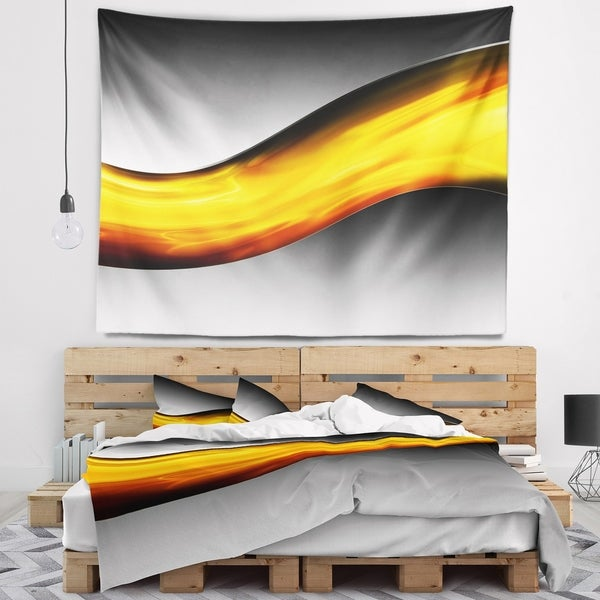 Designart 'Wave of Golden Lava' Abstract Wall Tapestry