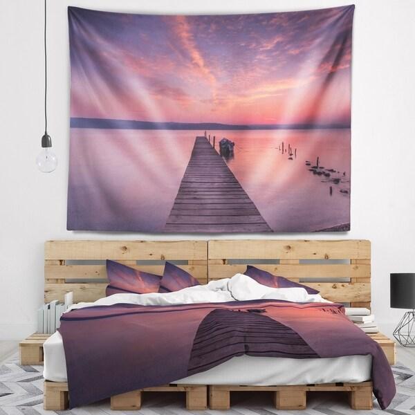 Designart 'Wooden Pier Under Red Sky' Seascape Wall Tapestry