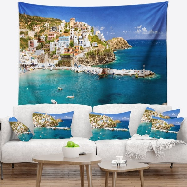 Designart 'Harbor with Vessels and Boats' Seascape Wall Tapestry