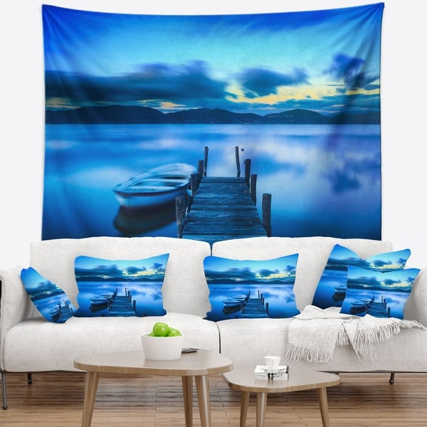 Designart 'Cloudy Blue Sky with Pier' Seascape Wall Tapestry