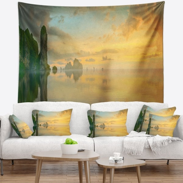 Designart 'Colorful Sky and Board on Beach' Seascape Wall Tapestry