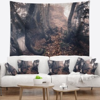 Designart 'Autumn Foggy Forest Trees' Landscape Photography Wall Tapestry
