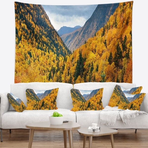 Designart 'Yellow Autumn Foliage Over Hills' Landscape Wall Tapestry