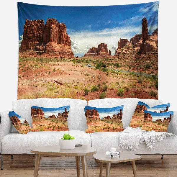 Designart 'American Road in Arches National Park' Landscape Wall Tapestry