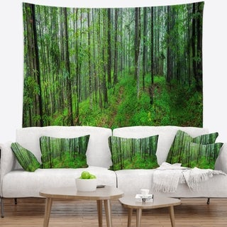 Designart 'Green Wild Forest with Dense Trees' Forest Wall Tapestry