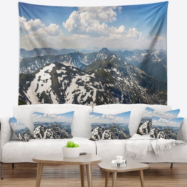 Designart 'Green Mountains in Spring Panorama' Landscape Wall Tapestry