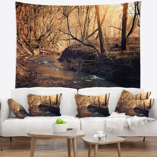 Designart 'Brown Creek in National Park' Modern Forest Wall Tapestry