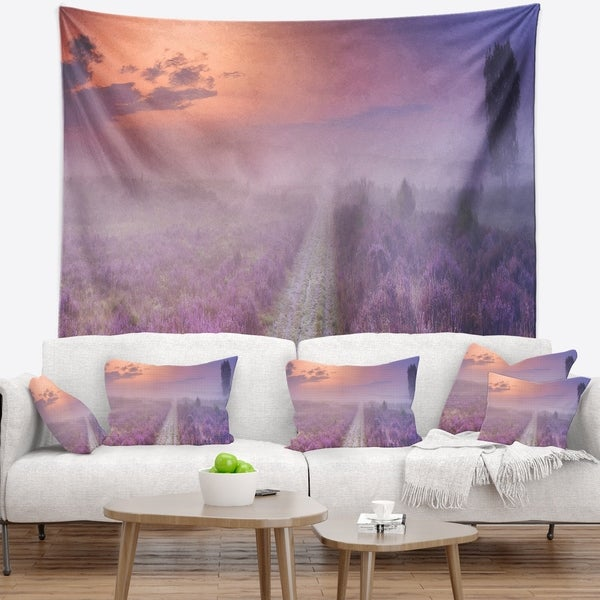 Designart 'Path through Blooming Field' Seascape Wall Tapestry