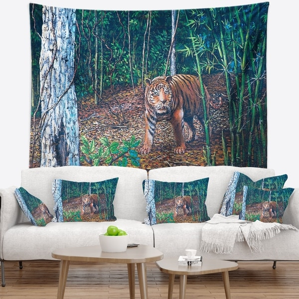 Designart 'Wandering Tiger in Forest' Animal Wall Tapestry