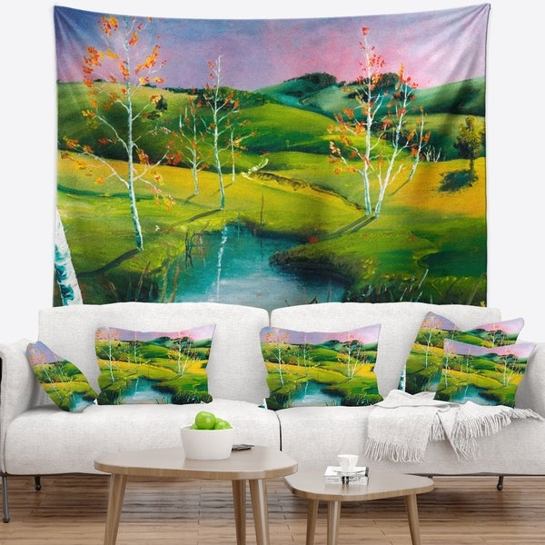 Designart 'Endless Green Pastures' Landscape Painting Wall Tapestry