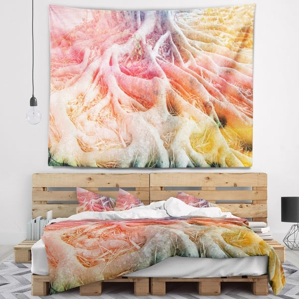 Designart 'Retro Tree Roots Watercolor' Trees Painting Wall Tapestry