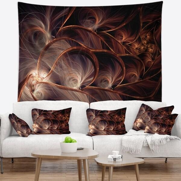 Designart 'Glittering Brown Fractal Flower on Black' Floral Wall Tapestry