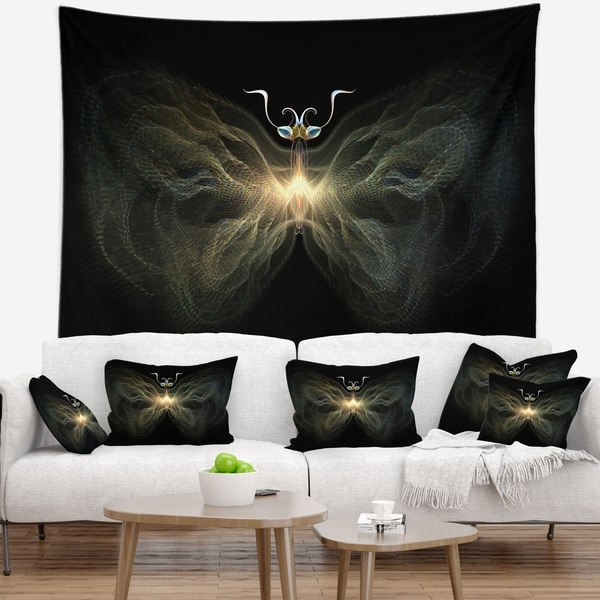 Designart 'Yellow Fractal Butterfly in Dark' Abstract Wall Tapestry
