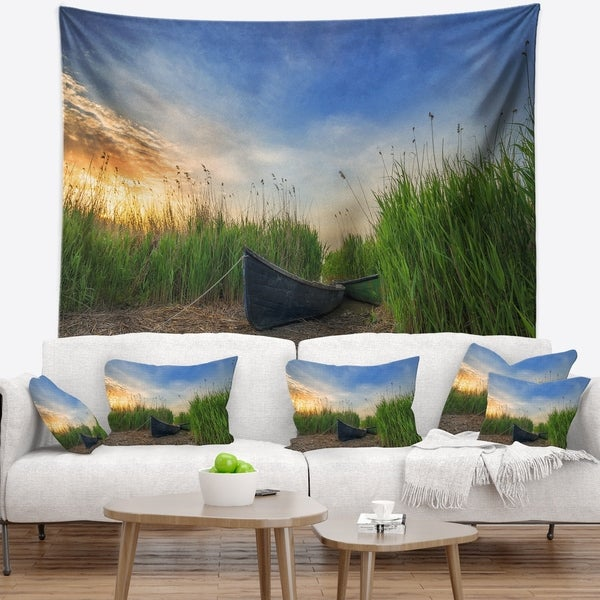 Designart 'Old Fisher Boat Near Lake' Landscape Photography Wall Tapestry