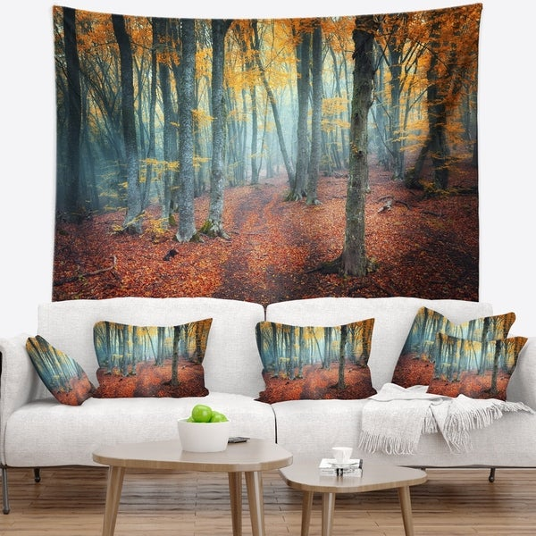 Designart 'Red and Yellow Autumn Forest' Landscape Photography Wall Tapestry