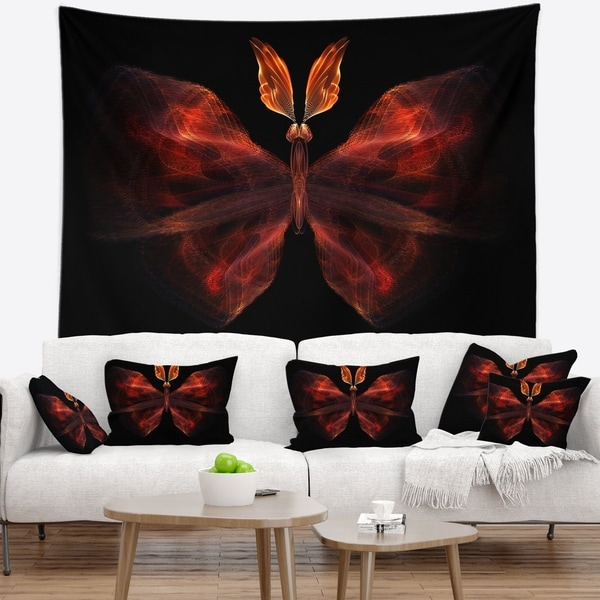 Designart 'Red Fractal Butterfly in Dark' Abstract Wall Tapestry