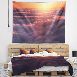 Designart 'Amazing Sunset View over Clouds' Landscape Wall Tapestry