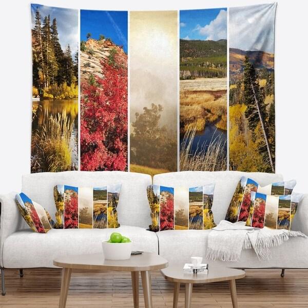 Designart 'Autumn in Sierra Nevade Collage' Landscape Wall Tapestry