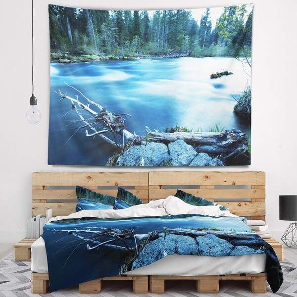 Designart 'Beautiful Blue River in Forest' Landscape Wall Tapestry