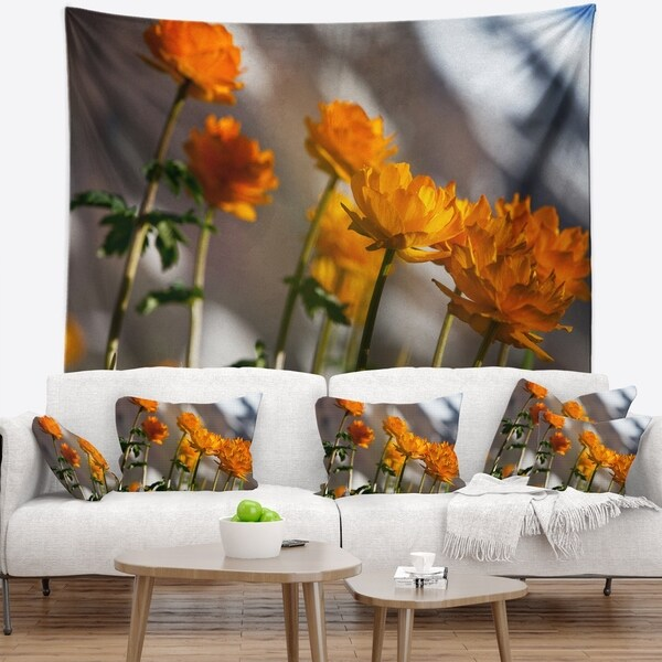 Designart 'Attractive Small Yellow Flowers' Flower Wall Tapestry