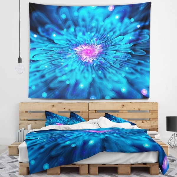 Designart 'Magical Blue Glowing Flower' Floral Wall Tapestry