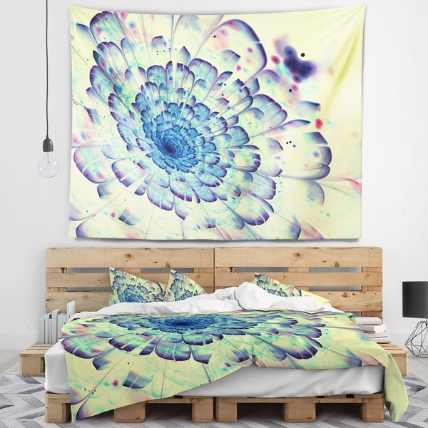 Designart 'Blue Fractal Flower with Red Details' Abstract Wall Tapestry