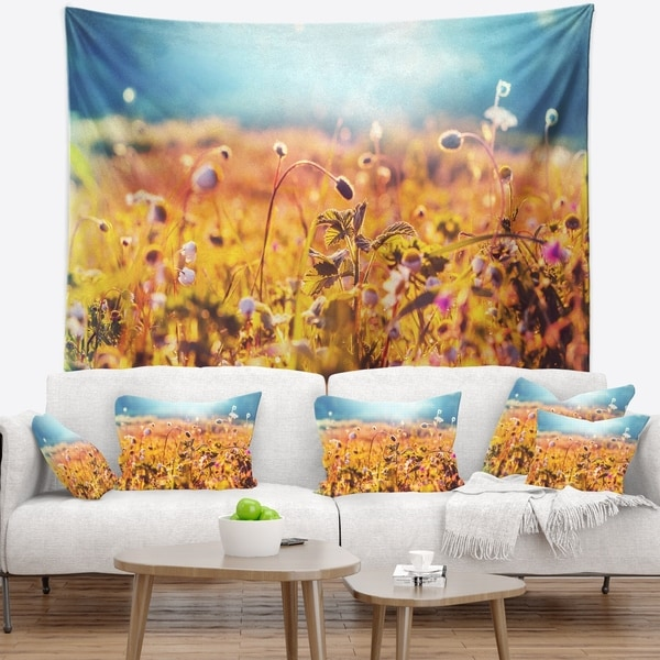 Designart 'Little Mountain Flowers on Sunny Day' Flower Wall Tapestry