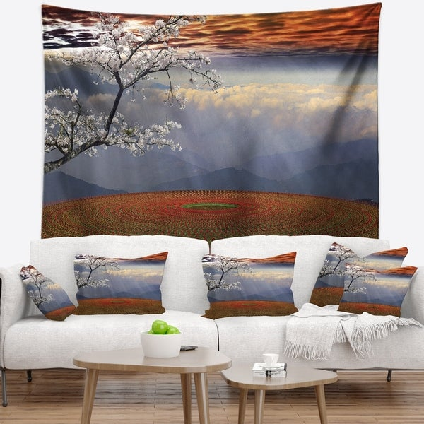Designart 'Beautiful Flower Field At Sunset' Landscape Wall Tapestry