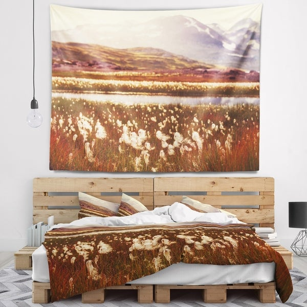 Designart 'Cotton Flowers with Hills on Background' Floral Wall Tapestry