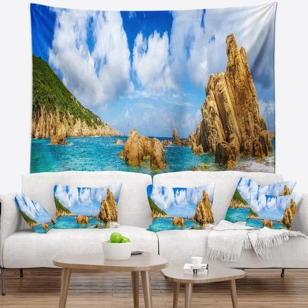 Designart 'Costa Paradise Panorama' Seashore Photo Wall Tapestry