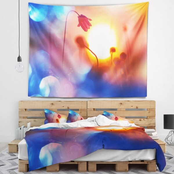 Designart 'Beautiful Blurred Flowers At Sunset' Floral Wall Tapestry
