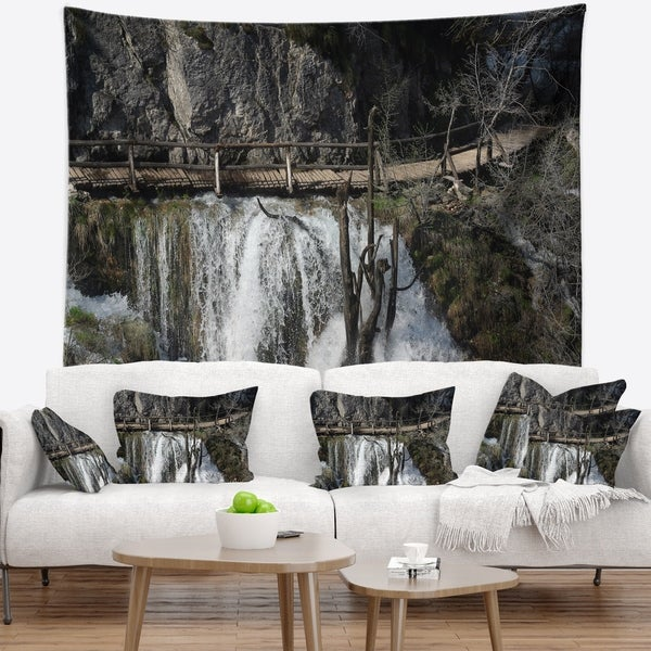 Designart 'Wooden Pathway in Plitvice Lakes' Landscape Photography Wall Tapestry