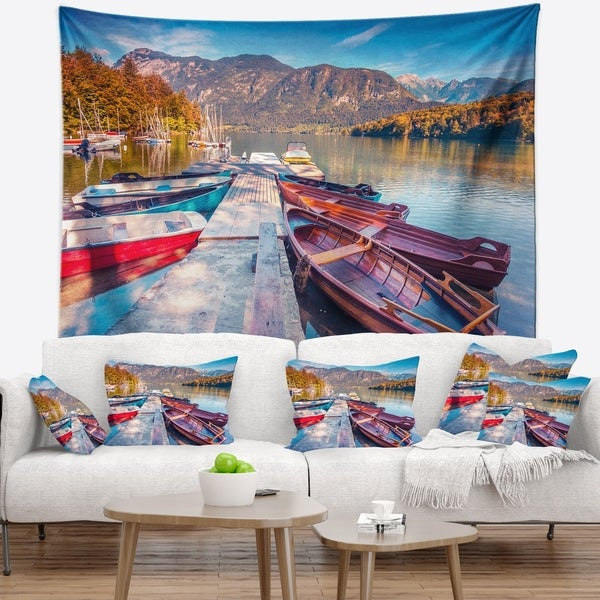 Designart 'Bohinj Lake in Morning' Landscape Photo Wall Tapestry