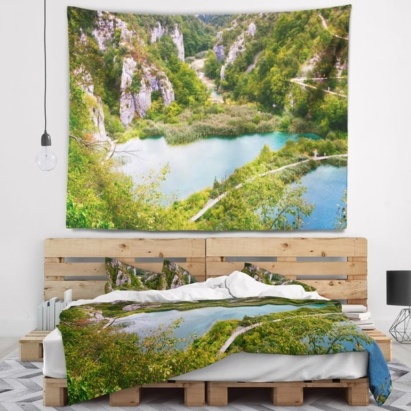 Designart 'Plitvice Lakes Long View' Landscape Photo Wall Tapestry