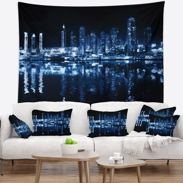 Designart 'Glowing City at Midnight' Cityscape Photo Wall Tapestry