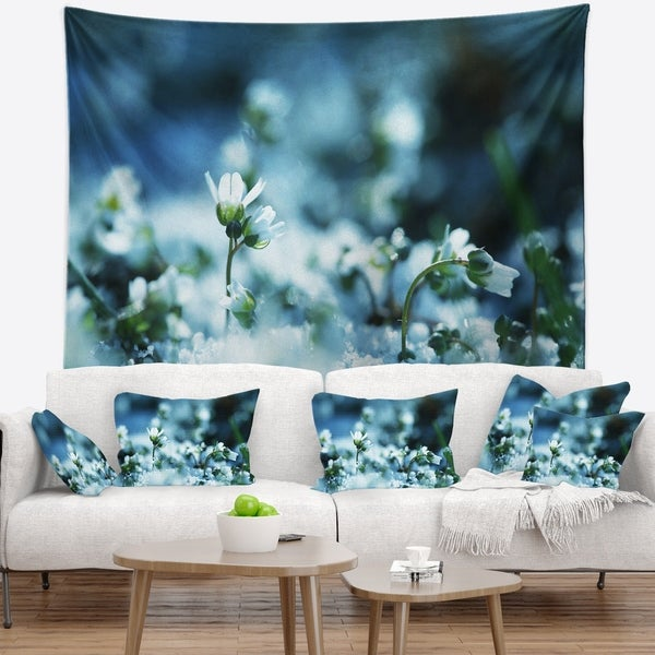Designart 'White Flowers on Blue Background' Floral Wall Tapestry