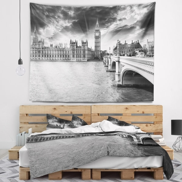 Designart 'Westminster Palace in Gray Shade' Photography Wall Tapestry
