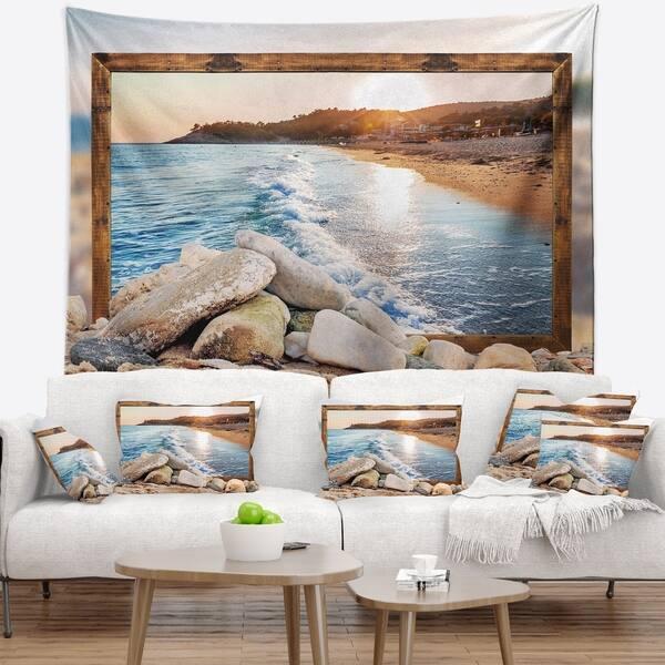 Designart Framed Effect Rocky Beach Seashore Wall Tapestry Overstock 20930301