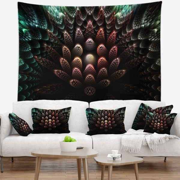 Designart 'Fractal 3D Flower Fantasy' Contemporary Wall Tapestry