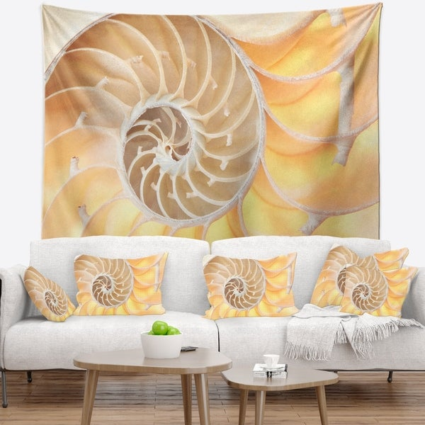 Designart 'Golden Nautilus Shell Pattern' Contemporary Wall Tapestry