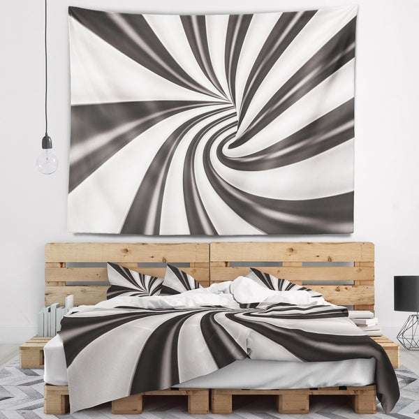 Designart 'Fractal 3D Black N White Tunnel' Contemporary Wall Tapestry