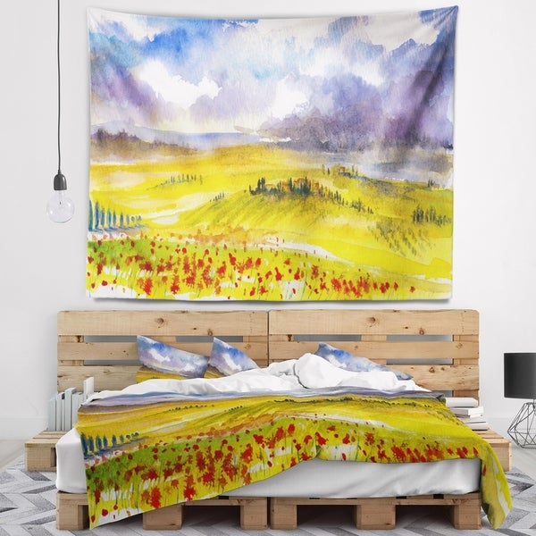 Designart 'Beautiful Tuscan Hills Italy' Landscape Painting Wall Tapestry