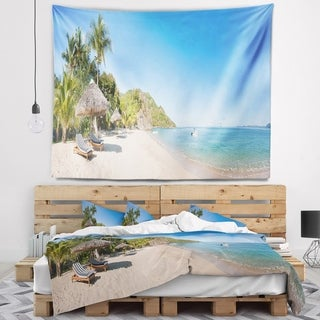 Designart 'Beach with Chairs and Umbrellas' Seashore Photo Wall Tapestry
