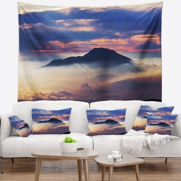 Designart 'Amazing Java Mountain in Fog' Landscape Wall Tapestry