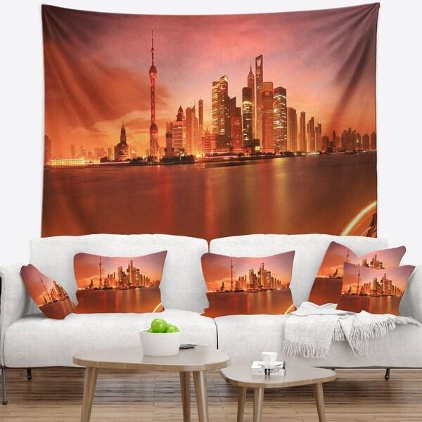 Designart 'Shanghai Lujiazui Skyline' Cityscape Photography Wall Tapestry