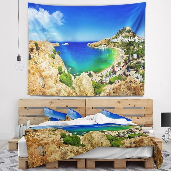 Designart 'Lindos Bay Greece Panorama' Landscape Photography Wall Tapestry