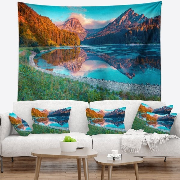 Designart 'Beautiful Swiss Lake Obersee' Landscape Photography Wall Tapestry