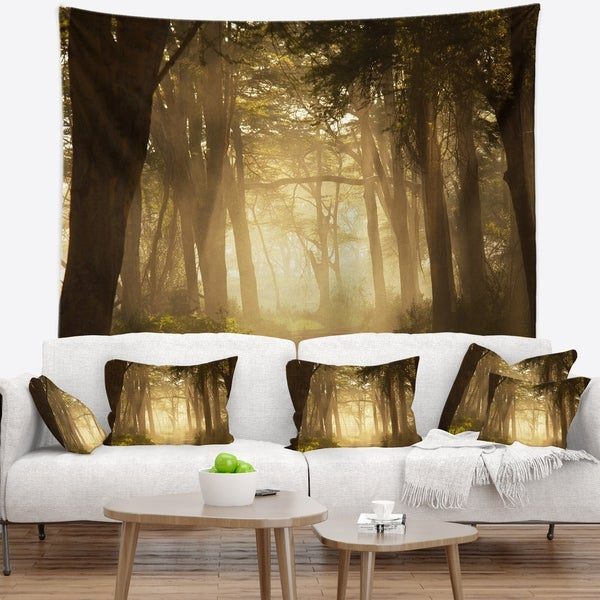 Designart 'Deep Jungle with Foggy Sunlight' Landscape Wall Tapestry